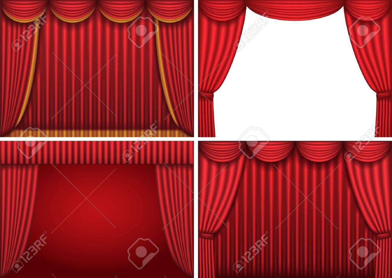 Four backgrounds with red theater curtains. Vector illustration. Stock Vector - 9513648
