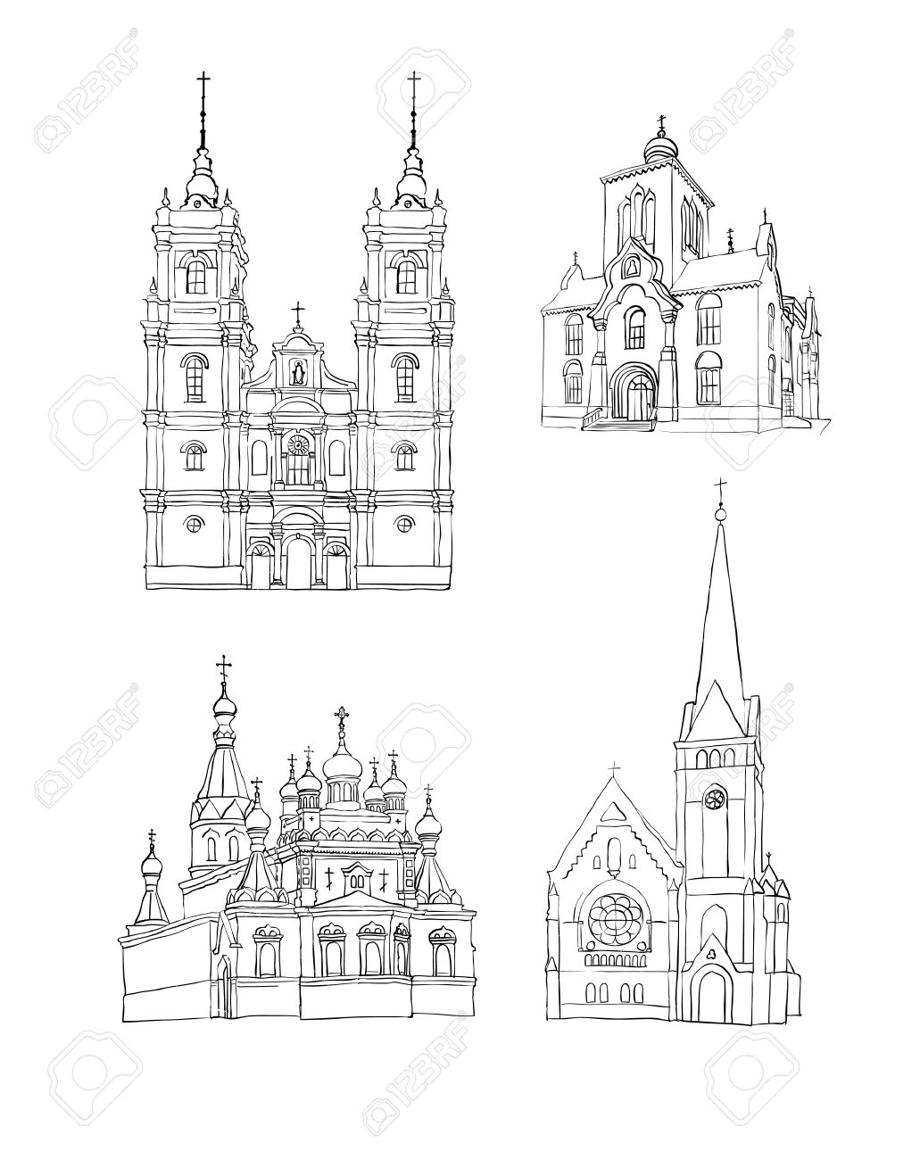 A set of sketches of churches hand drawn vector illustration stock vector 11351289