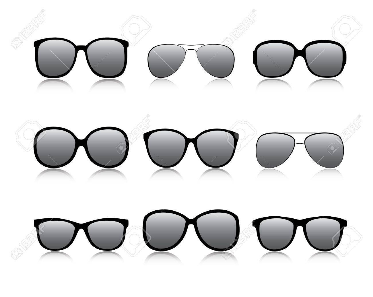 Vector icons set black Eye glasses a white background Stock Vector - 11351291