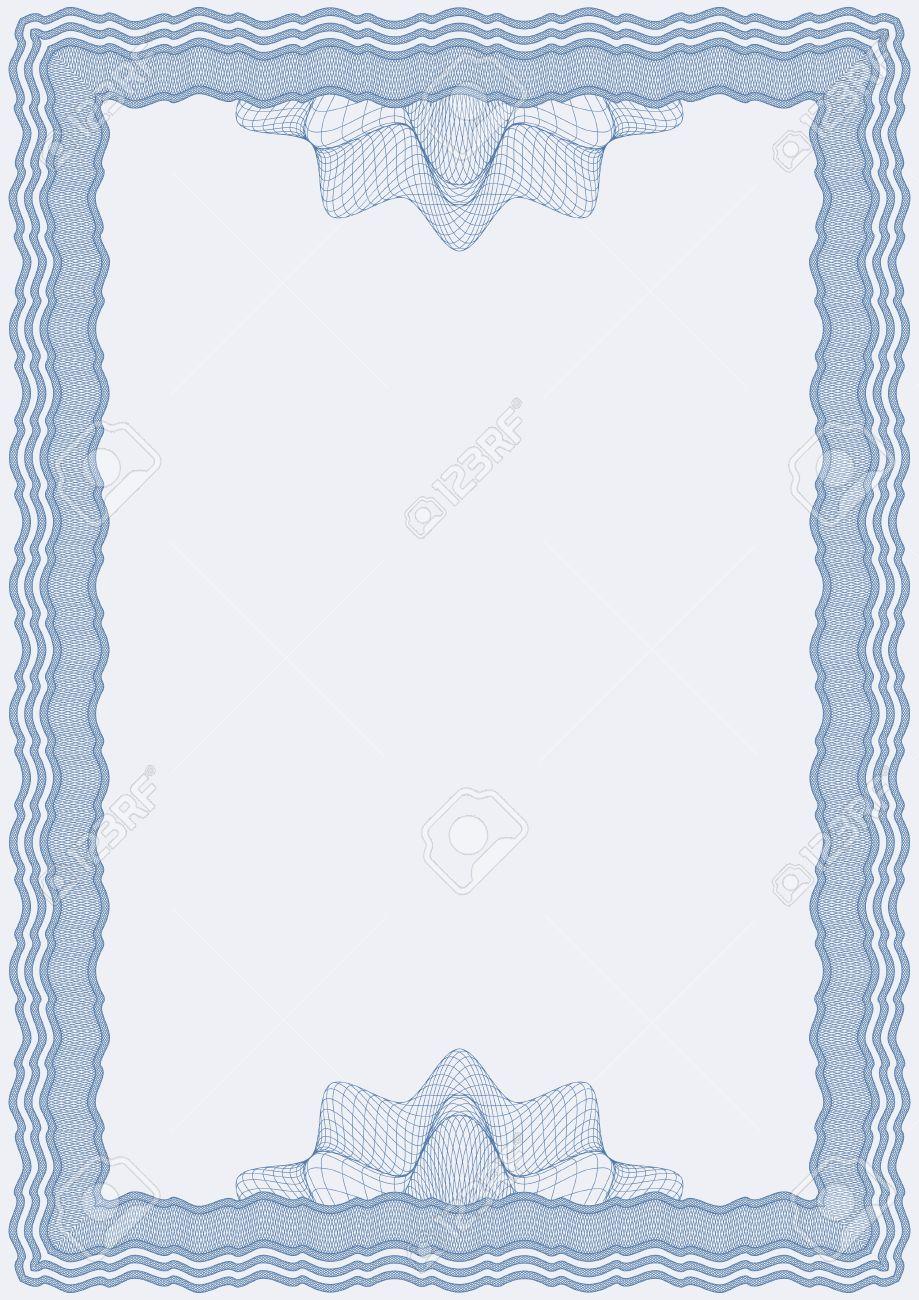 Guillochiertes Vektor Blauen Rahmen Für Diplom Oder Zertifikat ...
