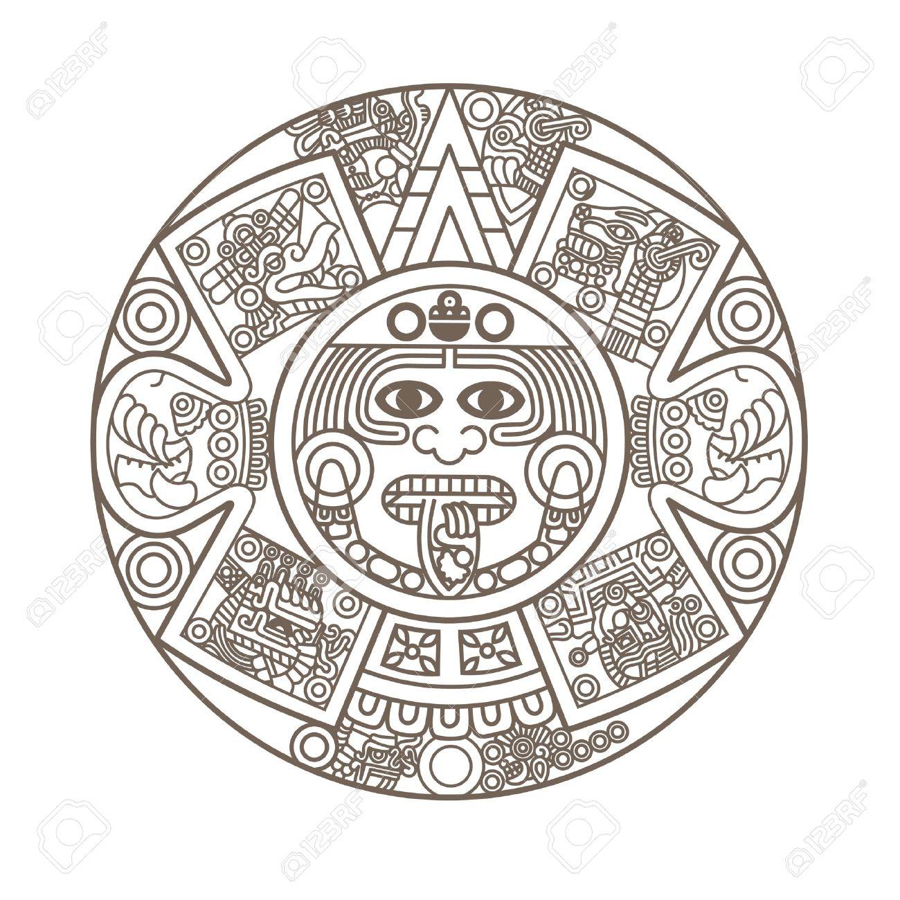 Calendario Azteca.Calendario Azteca Estilizada De Color Oro Ilustracion Vectorial