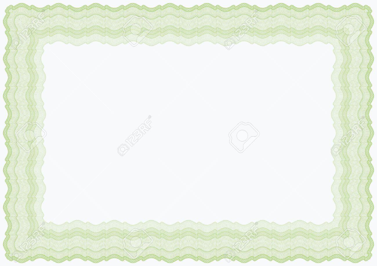 Guilloche Horizontal Vector Verde Marrón Marco De Diploma O ...