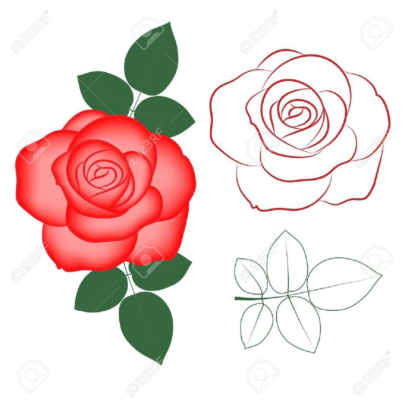 Red Rose Painted Silhouette And In Color, Vector Royalty Free ...