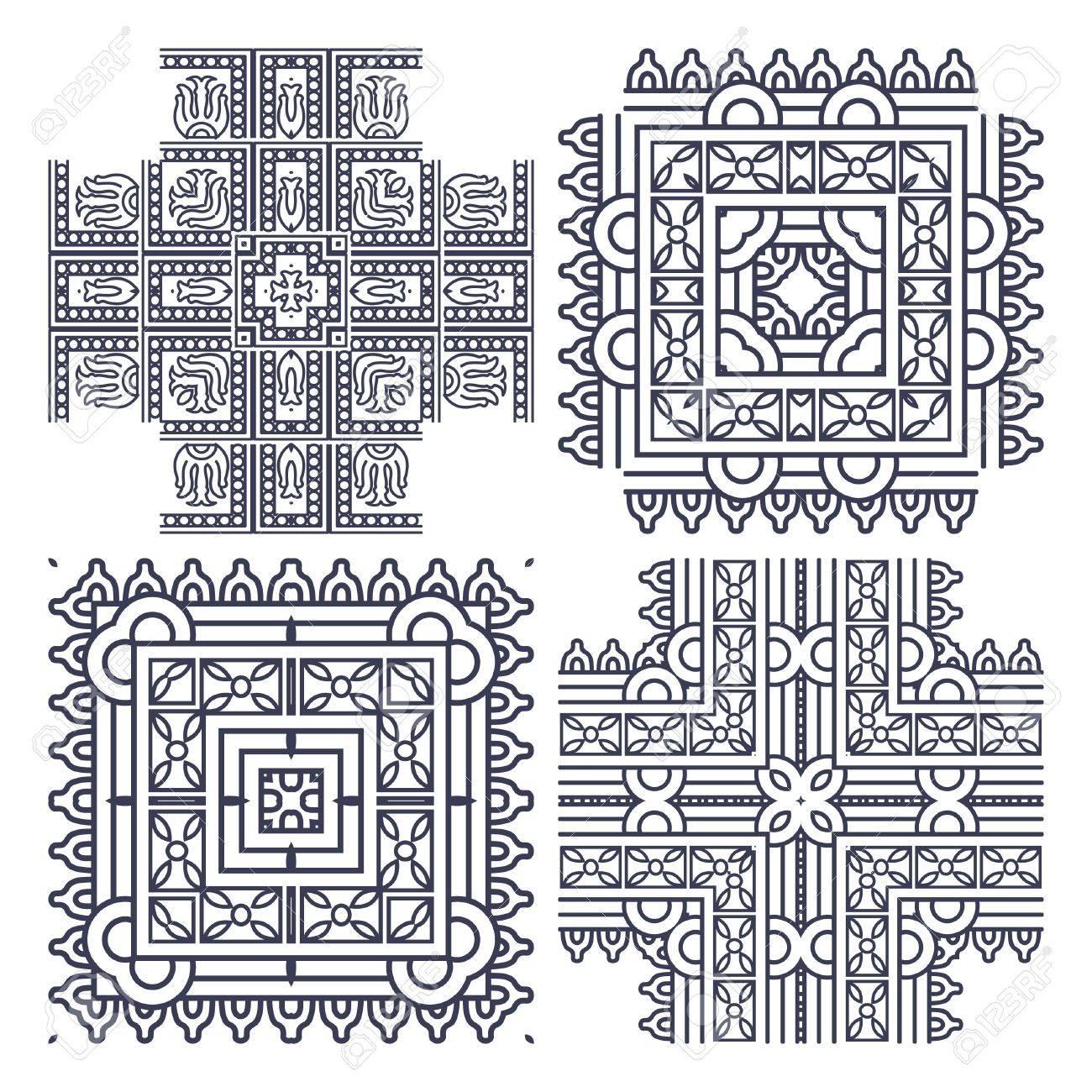 Wallpaper with aztec ornament in gray colors, design element Stock Vector - 13204996