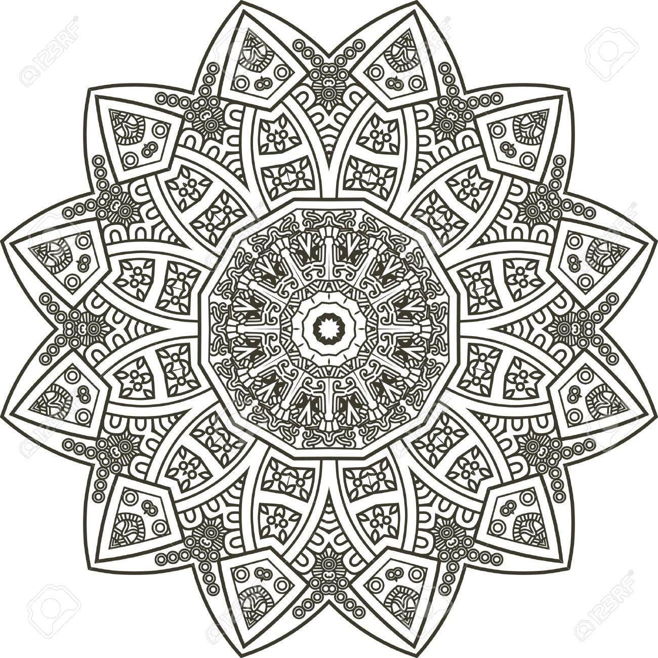 Ethnicity round ornament in black and white colors, mosaic vector illustration Stock Vector - 13394010
