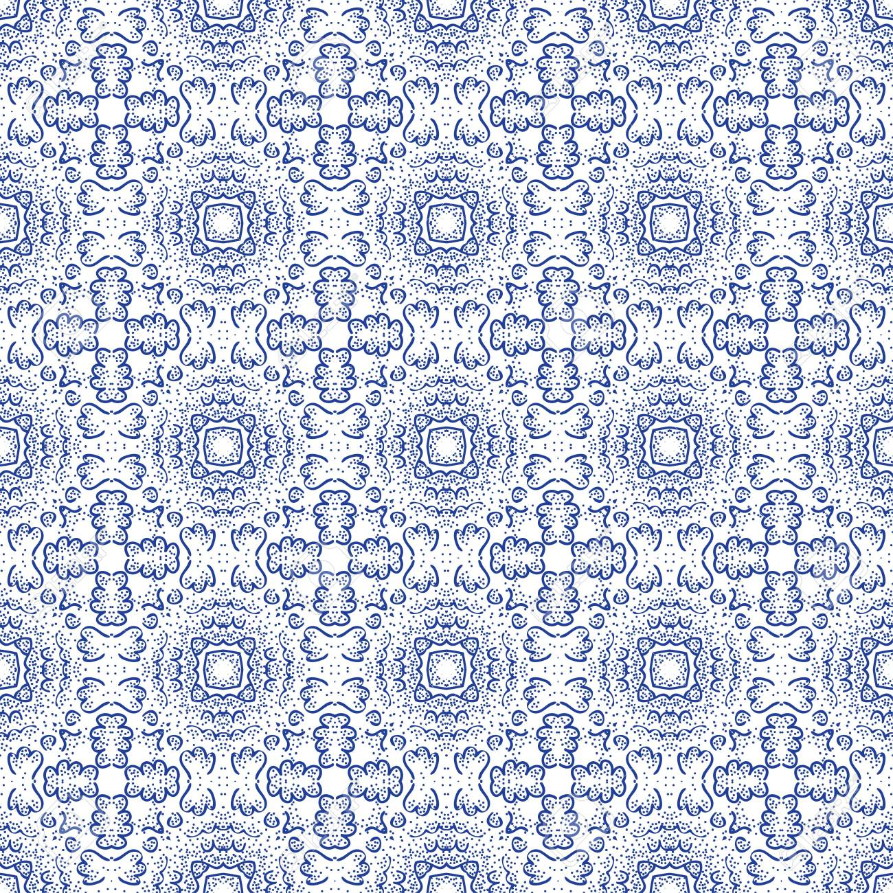 Seamless decorative wallpaper with floral ornament in blue color Stock Vector - 13750399