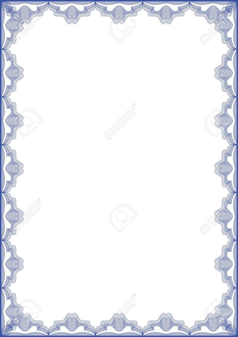 Favori Arabescato Vettore Cornice Blu Per Diploma O Certificato Clipart  GR67