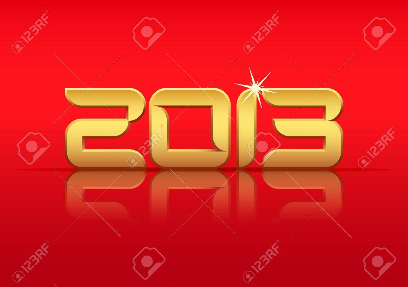 Gold 2013 year with reflection on red background Stock Vector - 15031230