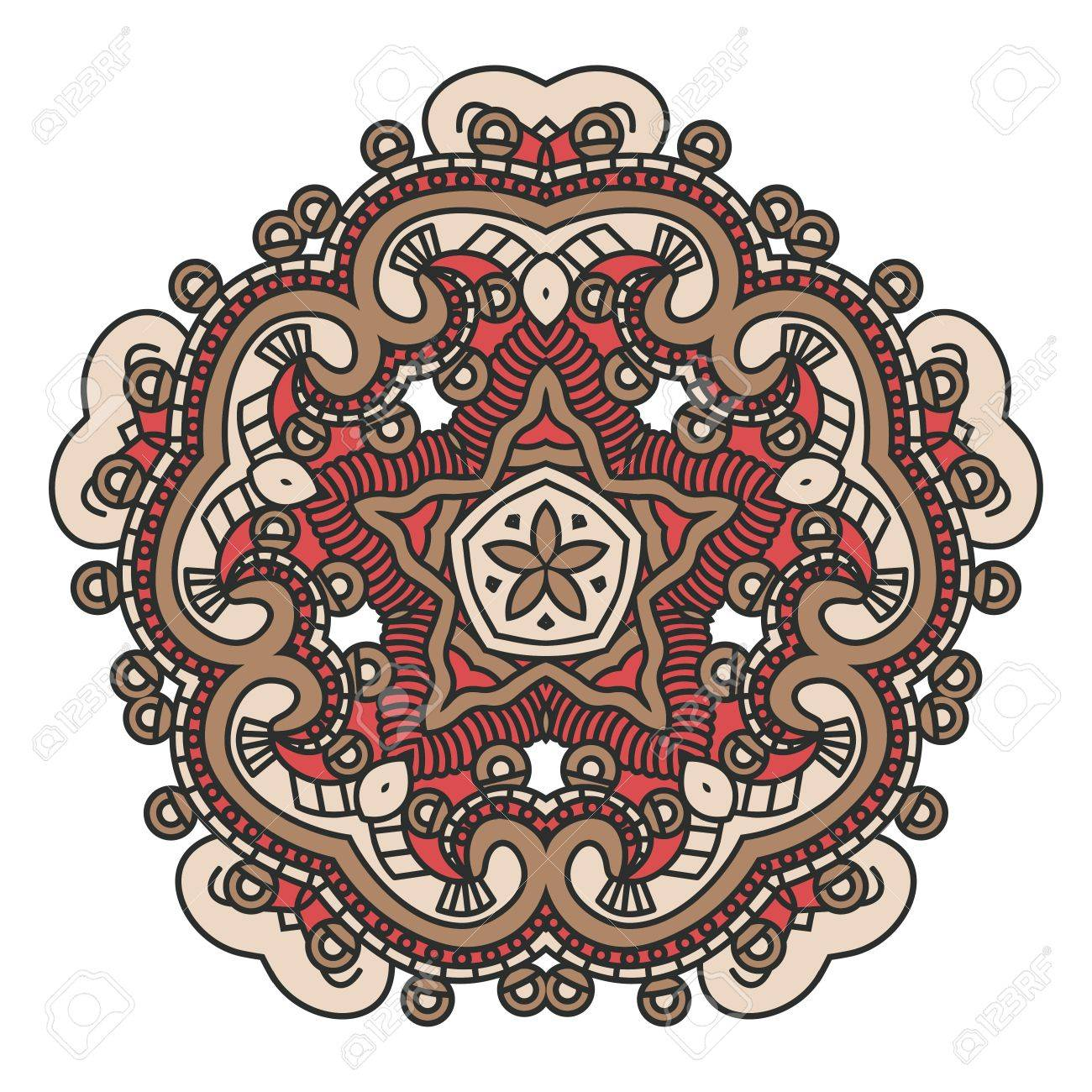 Colorful ethnicity round ornament, mosaic  stained glass Stock Vector - 15415252