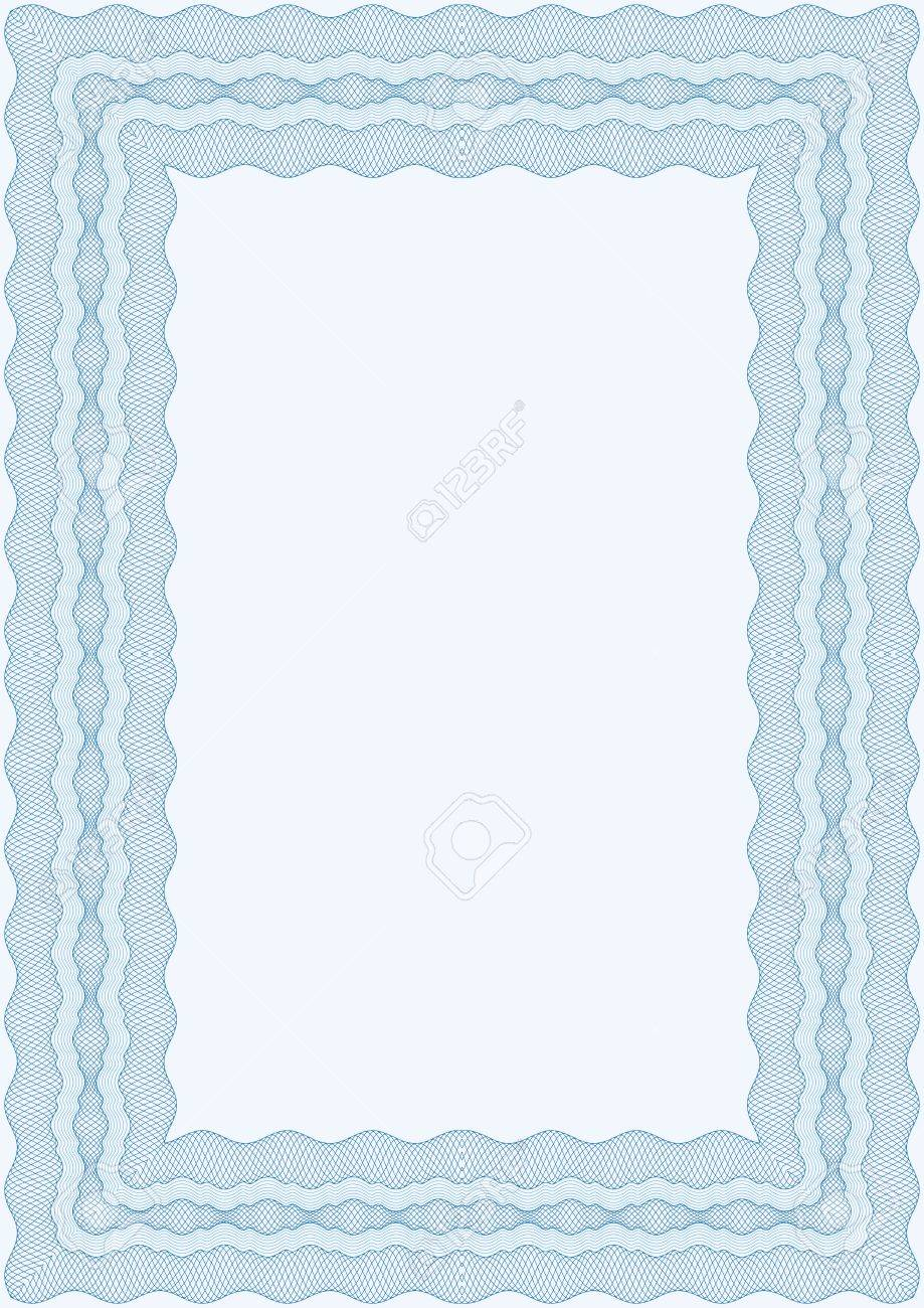 Guilloche blue  frame for diploma or certificate Stock Vector - 15889875
