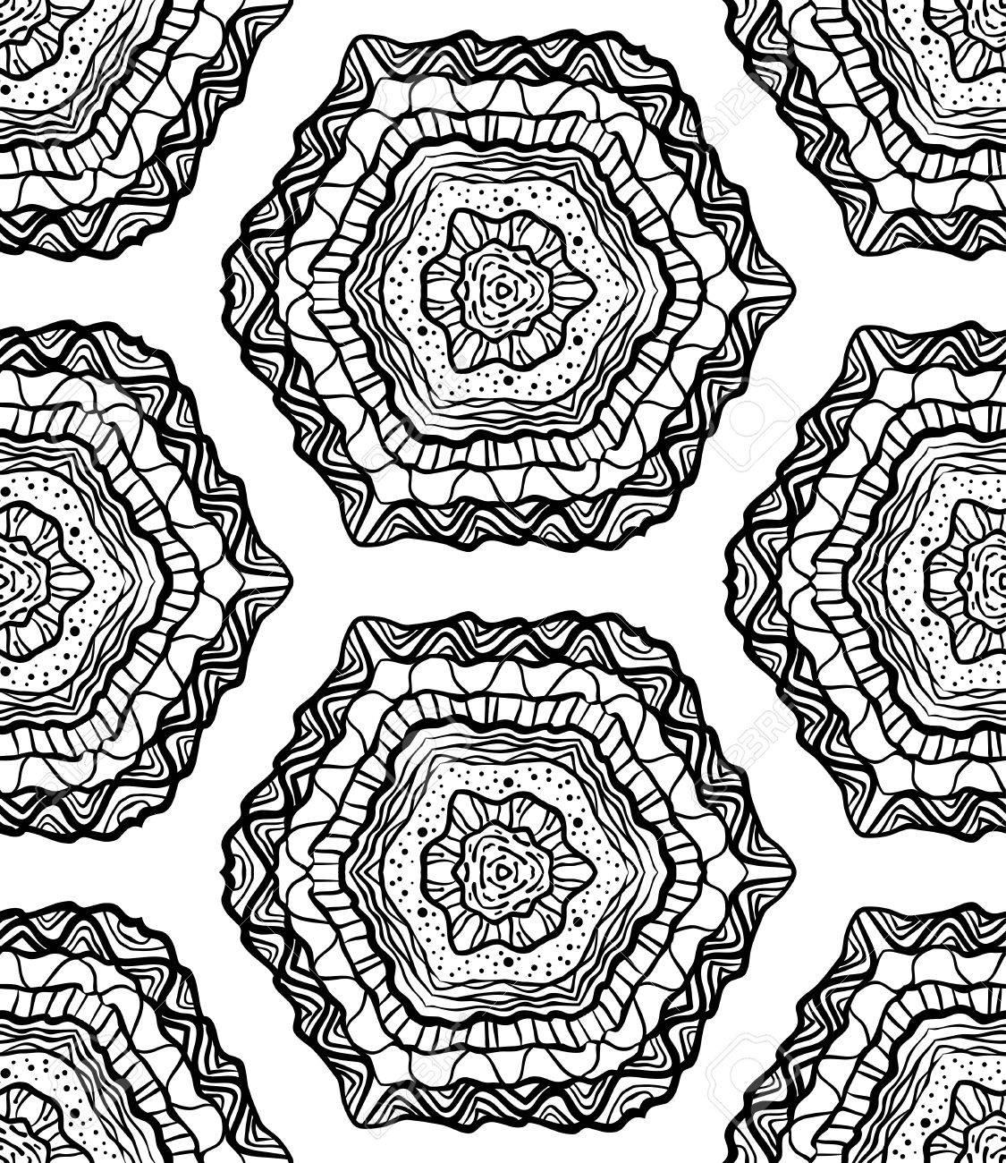 Nahtlose Handgezeichnete Abstrakte Muster Blumenhintergrund Vector