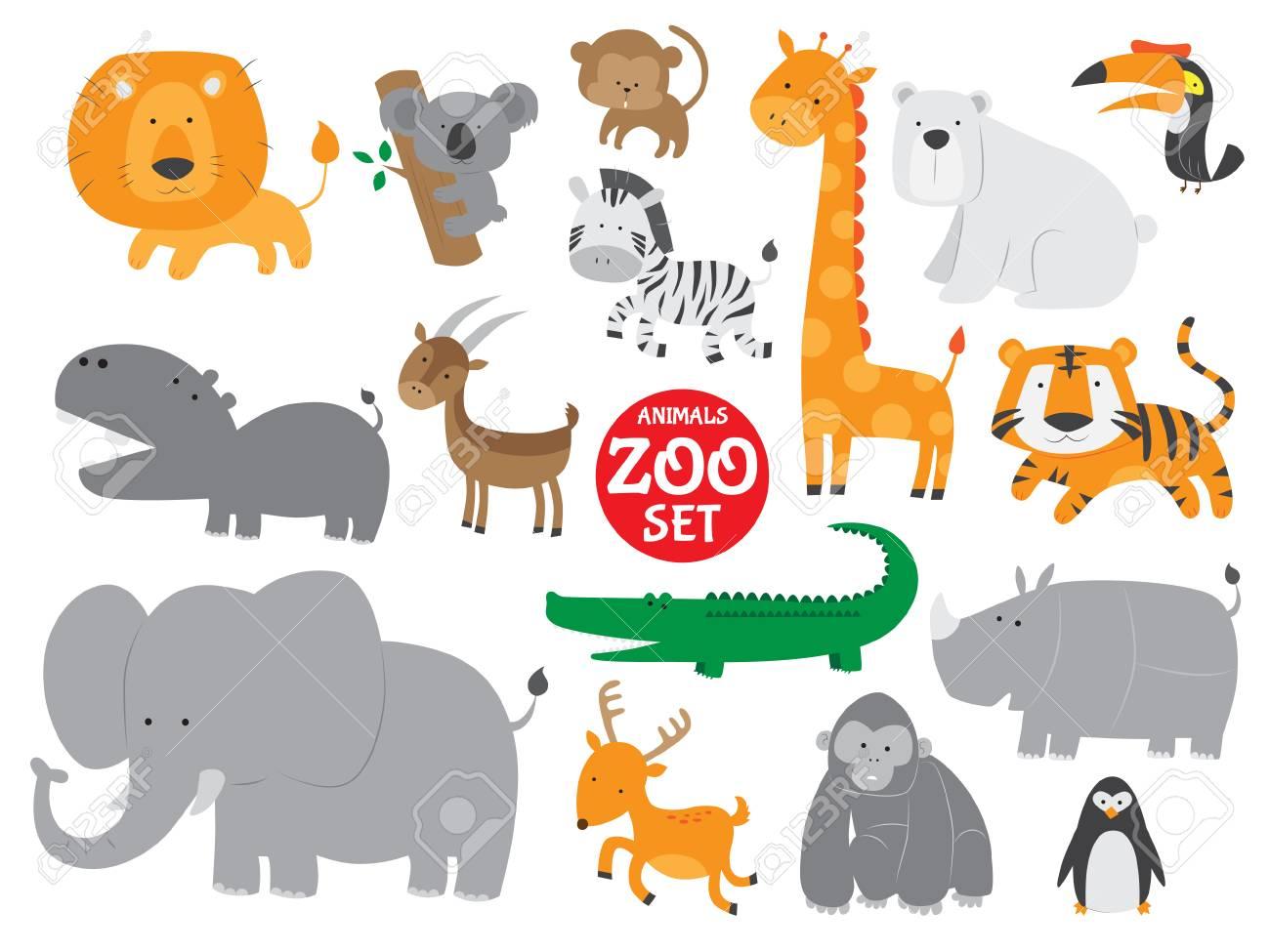 Cute zoo animals vector set - 63229040