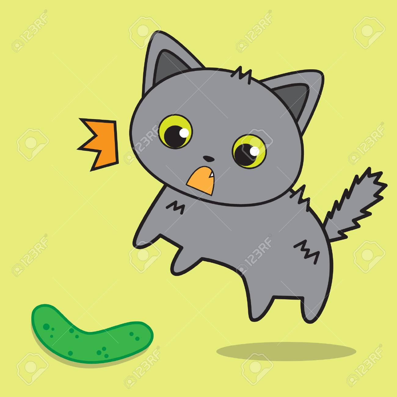 cute cat afraid of cucumber vector stock royalty free cliparts