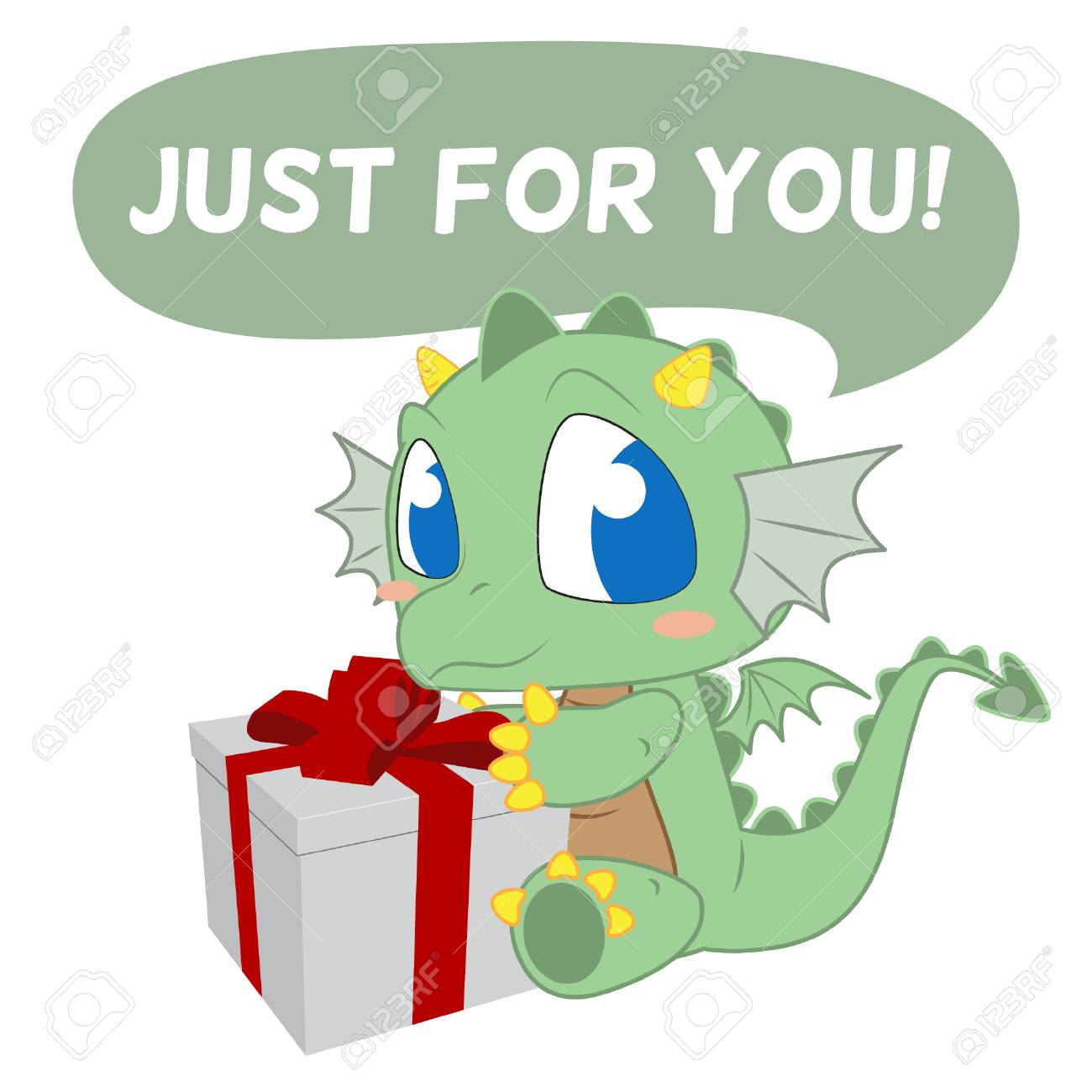 Cute Dragon Bring Birthday Present For Greeting Cards Vector