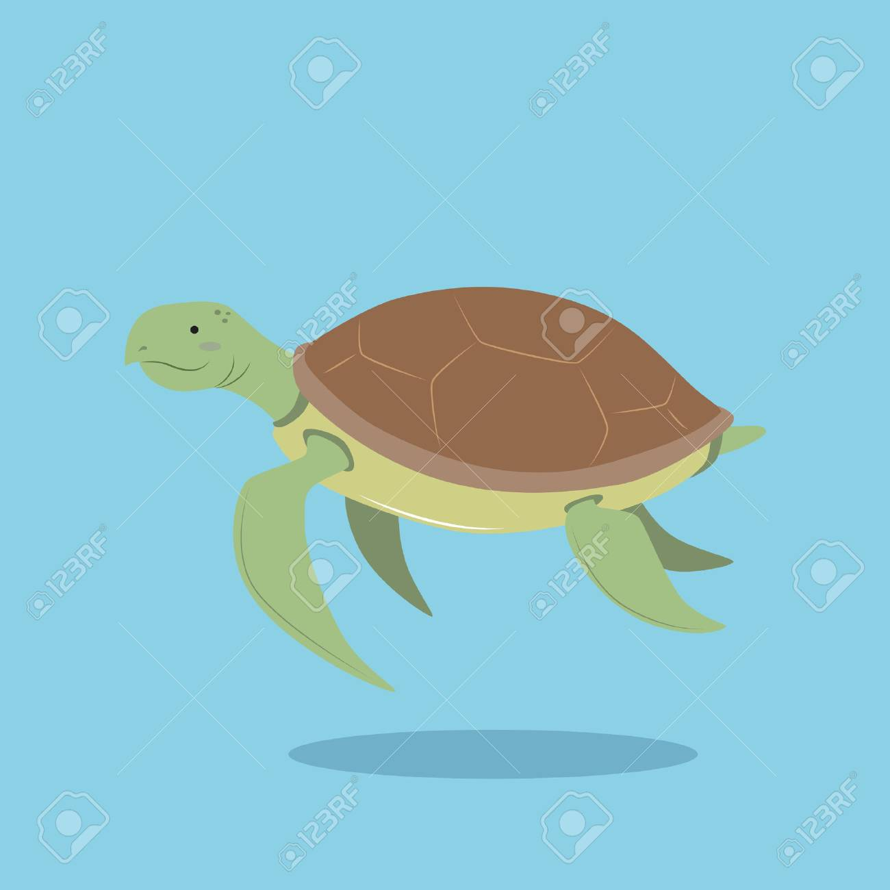Vector Cartoon Illustration Of Sea Turtle In Flat Simple Design