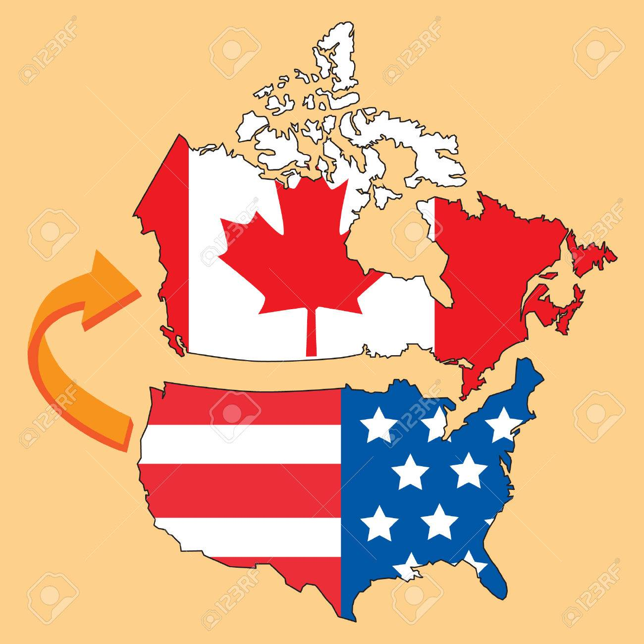 Emigrate to Canada from United States of America with map and..