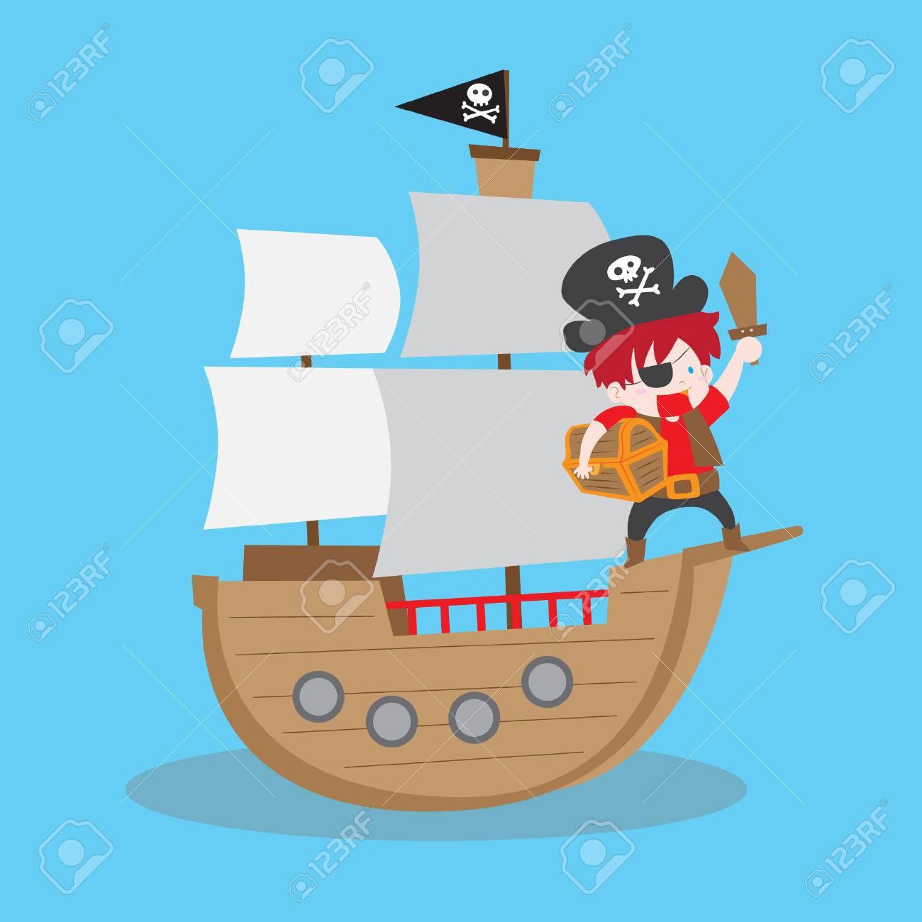 Foto de archivo - Ilustración vectorial de dibujos animados de un niño  pirata con el cofre del tesoro en un barco pirata a840d16c677