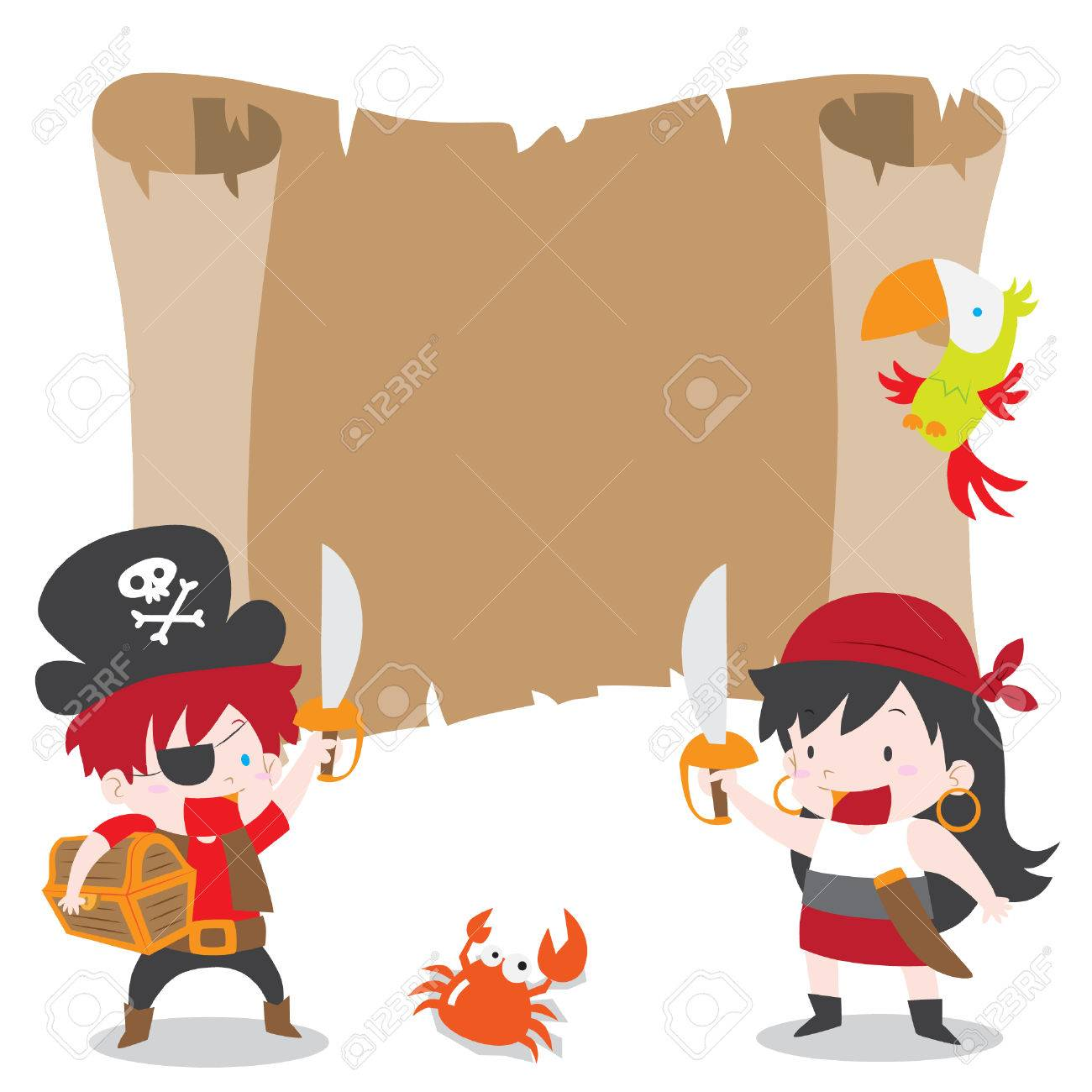 A vector cartoon illustration of a pirate boy and girl with a vector cartoon illustration of a pirate boy and girl with treasure chest and parrot for stopboris