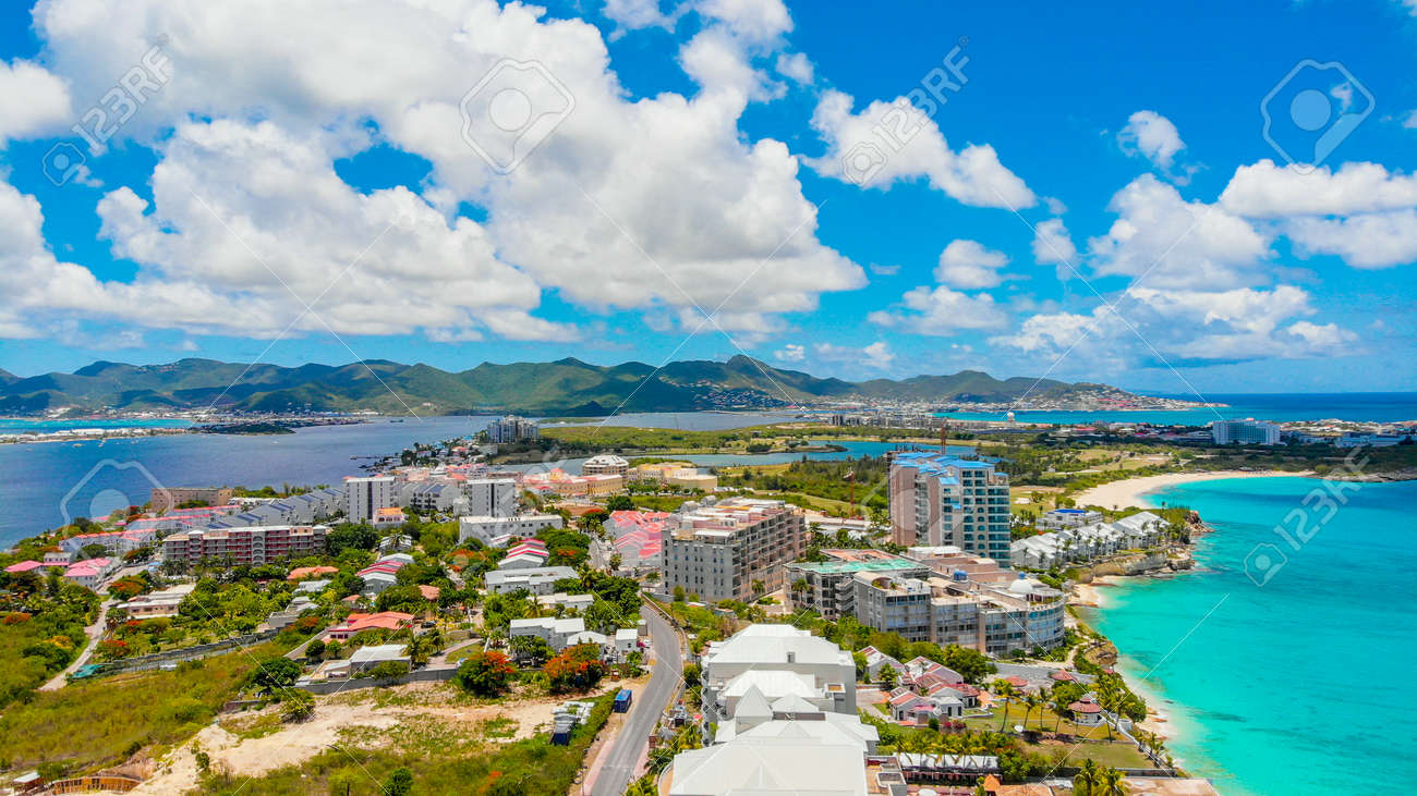 Aerial view of Maho and Simpson bay in the Caribbean island of St.Maarten - 152079547