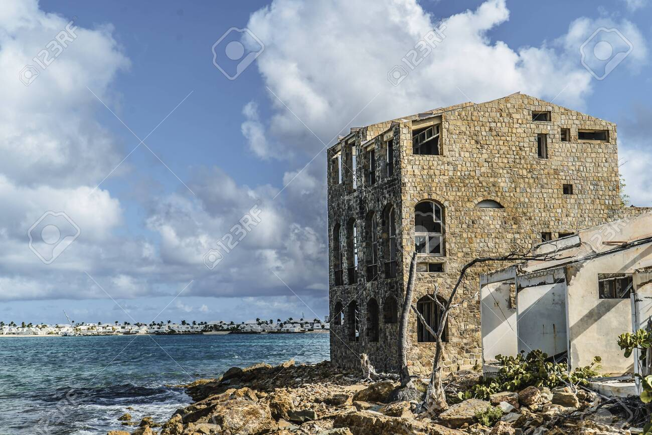 Hurricane causes damages to La belle creole building in the caribbean island of st.martin. - 152082251