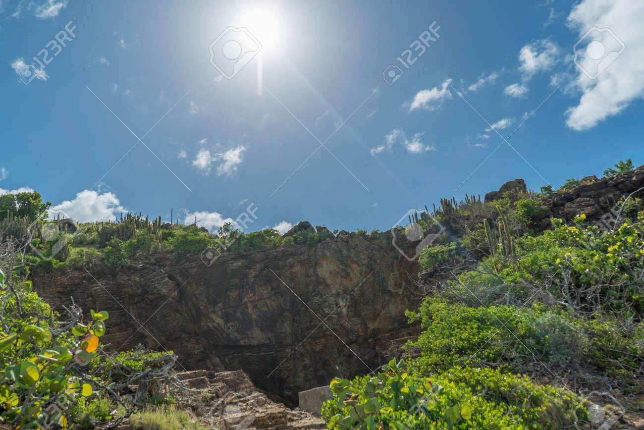Natural caves created by the caribbean sea. Le trou de david. - 152082253