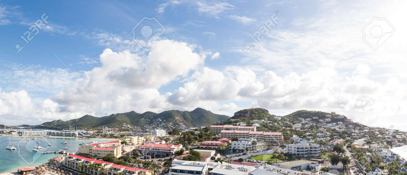 The caribbean island of St.Maarten landscape and Citiscape. - 163349788