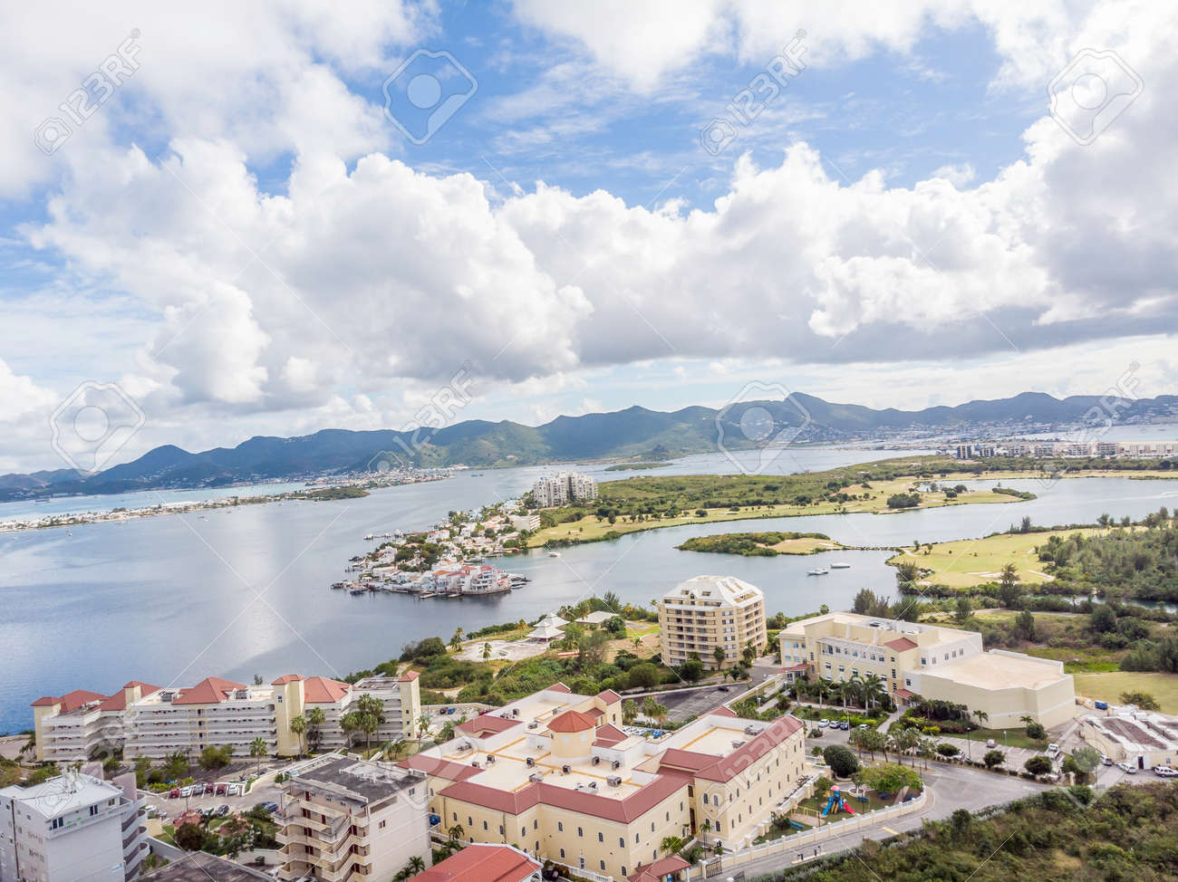 The caribbean island of St.Maarten landscape and Citiscape. - 163350219