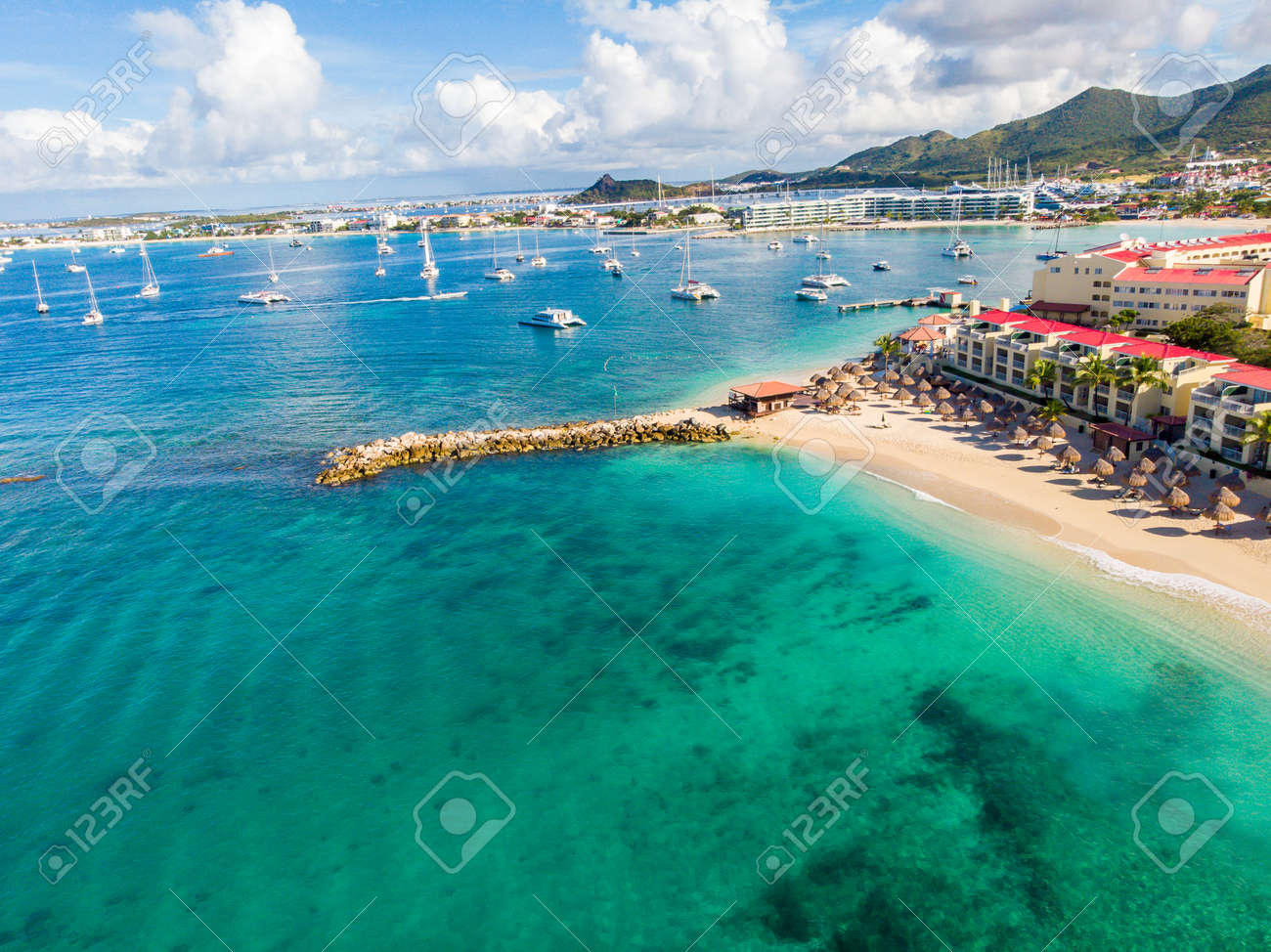 The caribbean island of St.Maarten landscape and cityscape. - 163350425