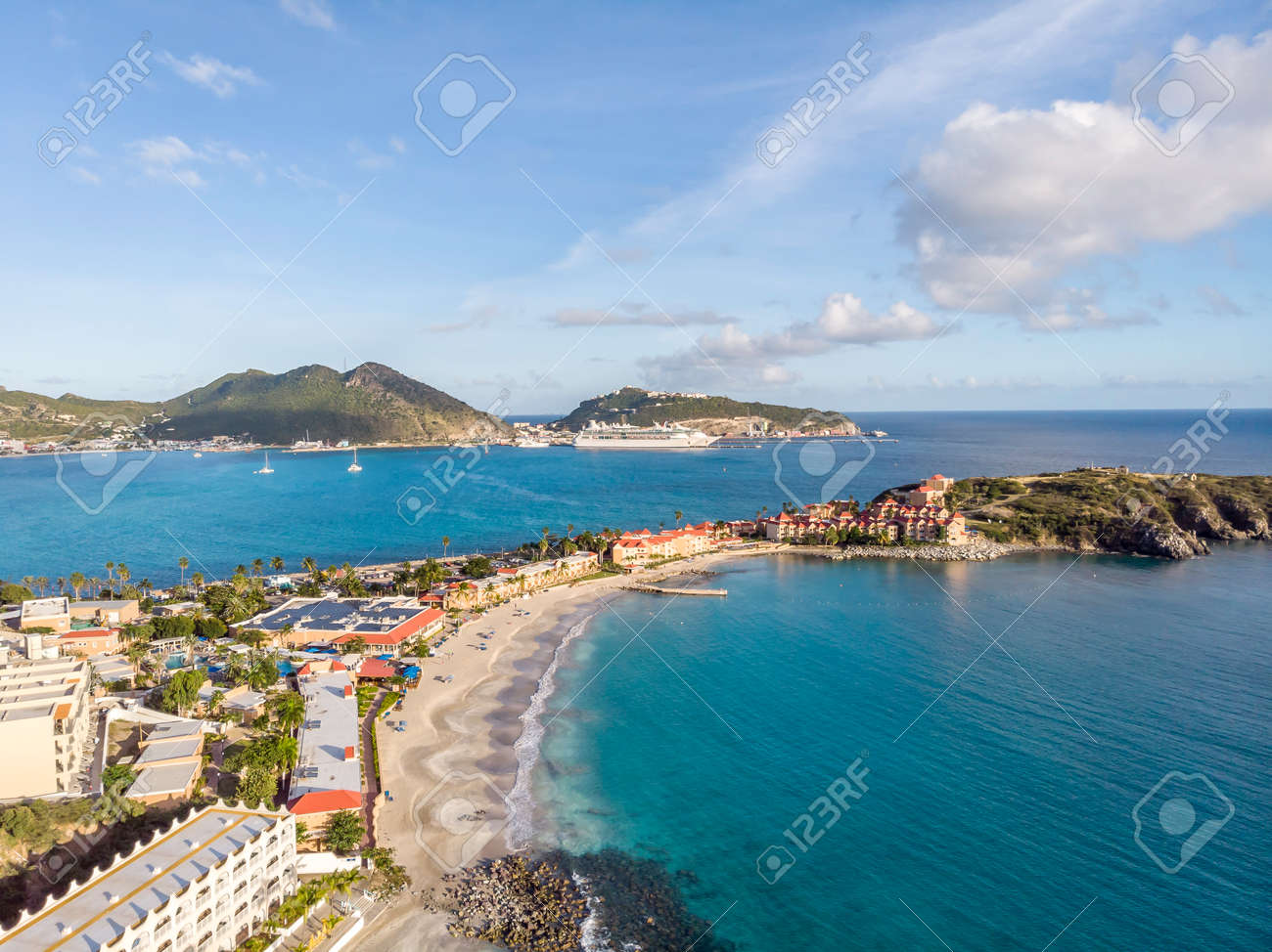 The caribbean island of St.Maarten landscape and cityscape. - 163349051