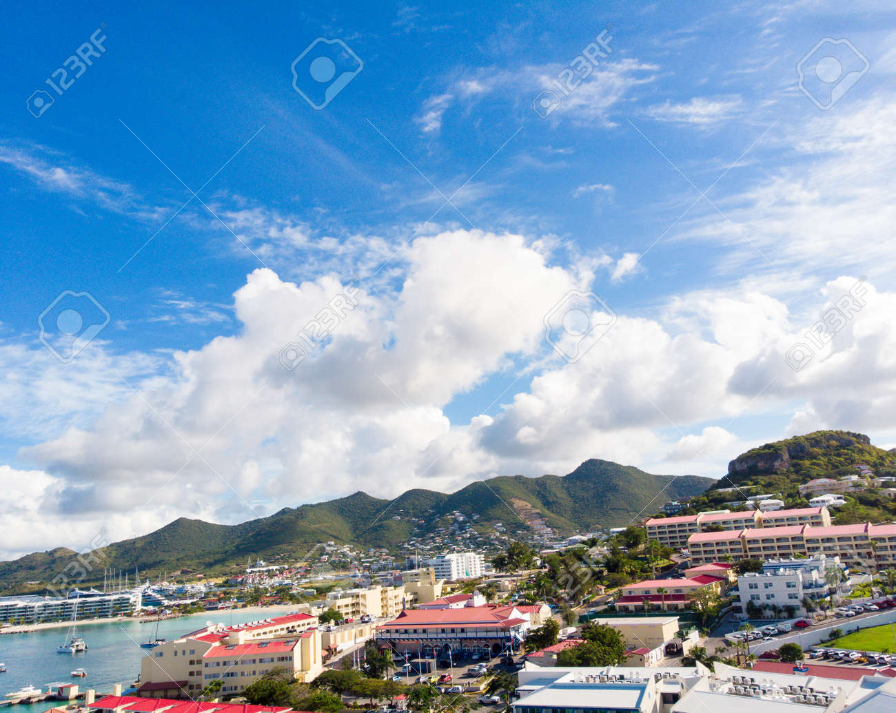 The caribbean island of St.Maarten landscape and cityscape. - 163349887