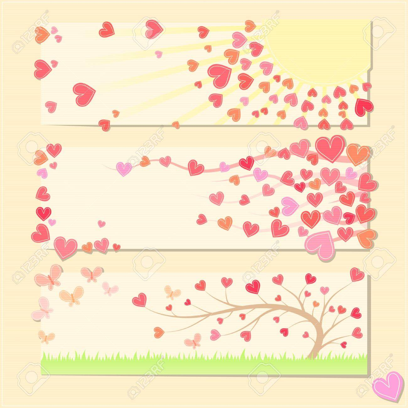 Pretty Valentine Cards With Hearts Butterfly Grass And Tree – Pretty Valentines Cards