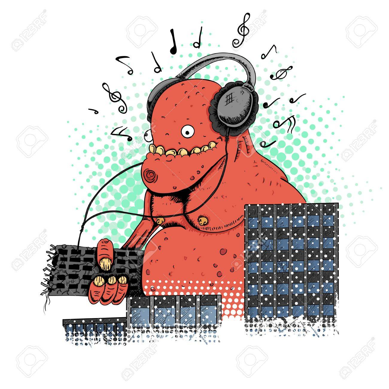 Monster in the city crashing house and listening music Stock Vector - 20721665