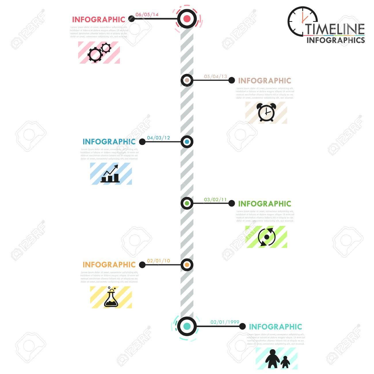 Minimal Infografik Timeline-Vorlage Mit Einfachen Formen, Kreise ...