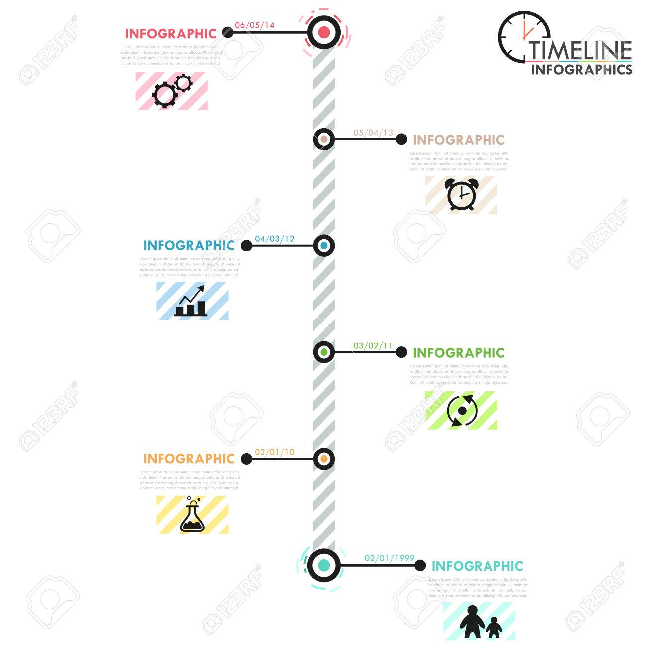Minimal Infographics Timeline Template With Simple Shapes, Circles ...
