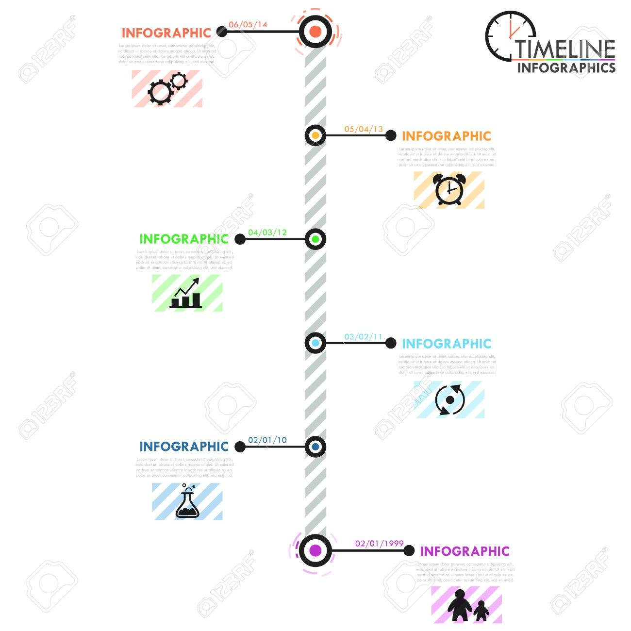 minimal infographics timeline template with simple shapes circles icons and text vector