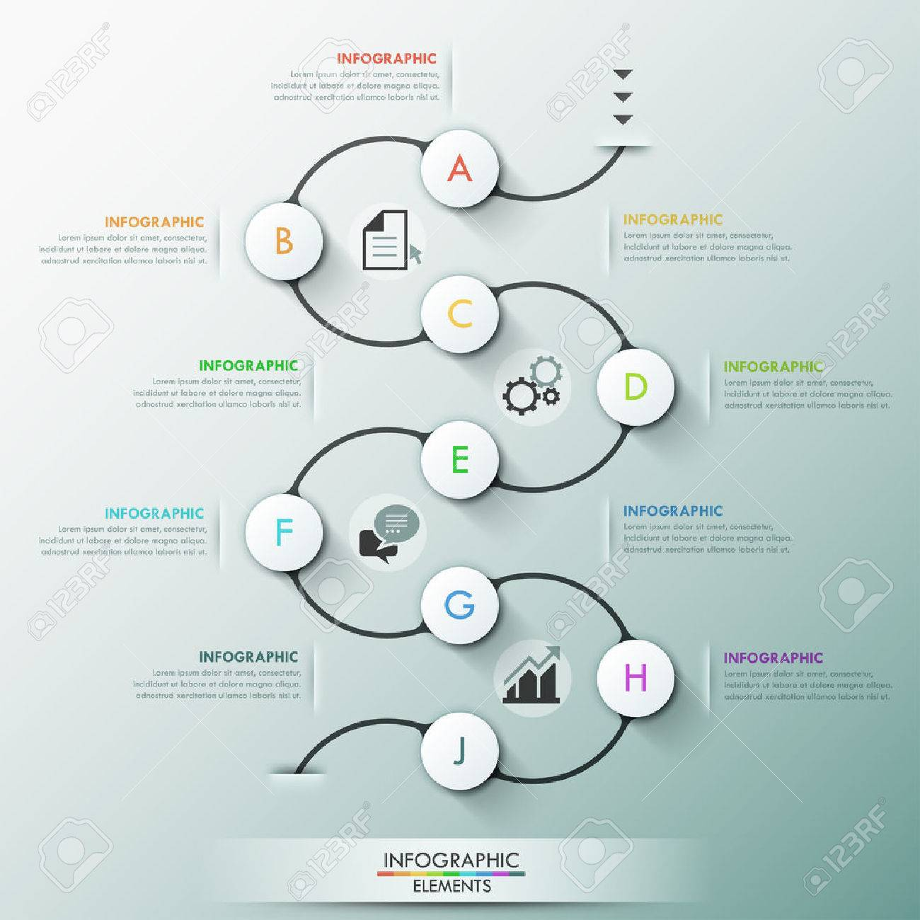 Modern infographics process template with 9 paper circles on dark path, icons and text. Vector. Can be used for web design and workflow layout - 42793927