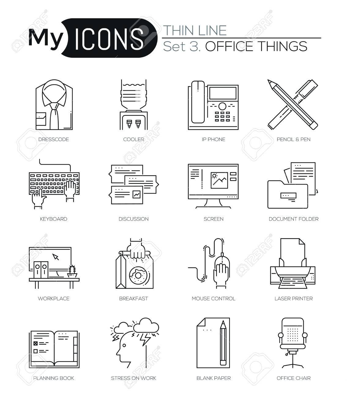 Modern thin line icons set of basic business essential tools modern thin line icons set of basic business essential tools office equipment premium quality biocorpaavc Choice Image