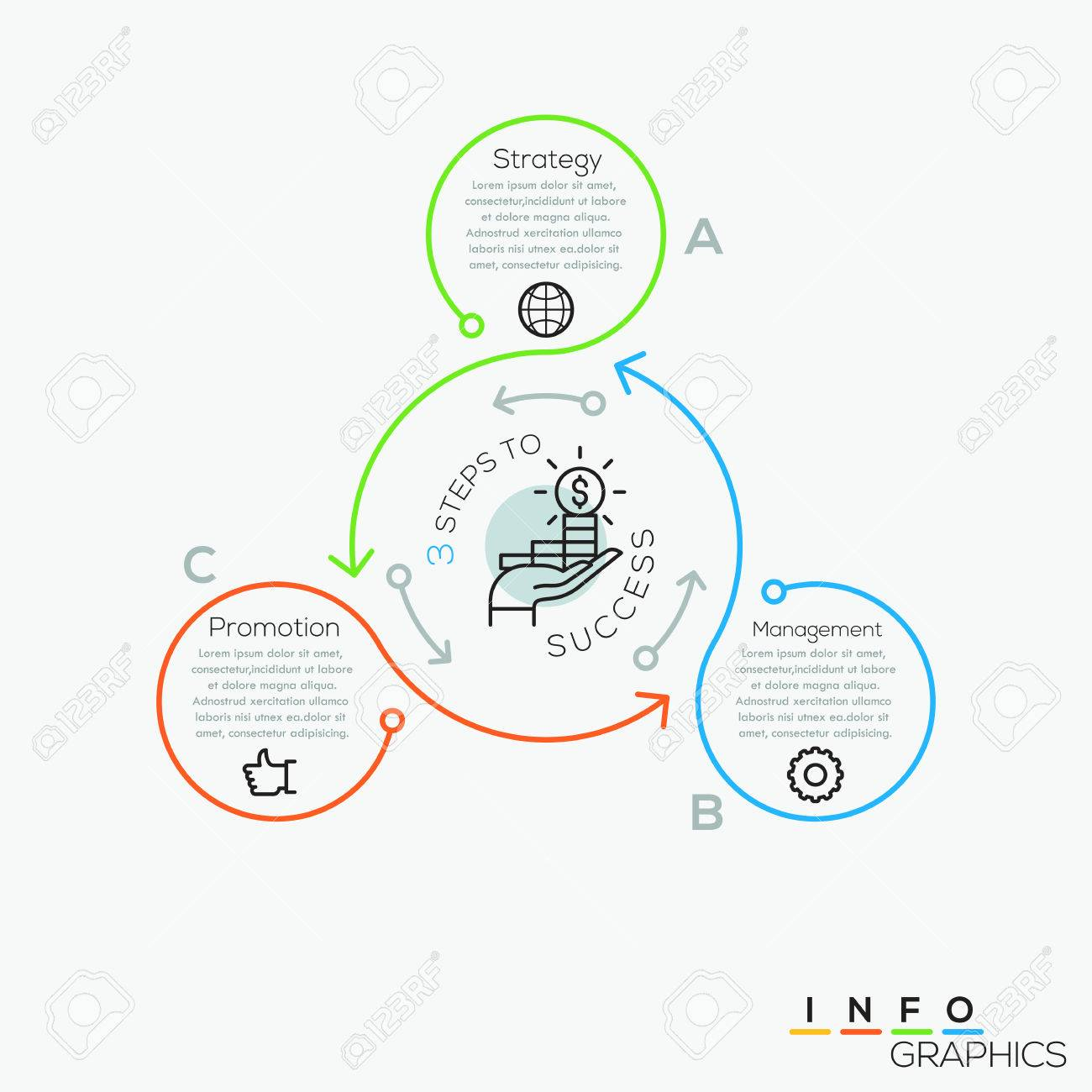 Thin line minimal arrow business cycle infographic template. Vector illustration. Can be used for workflow layout, diagram, number options, web design, infographics and timeline. - 67874497