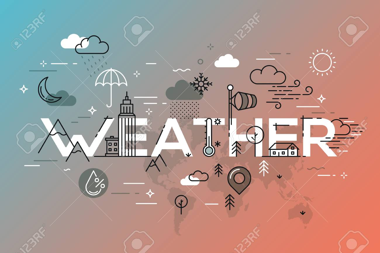 Weather Concept with vector icons and elements. Standard-Bild - 79138563