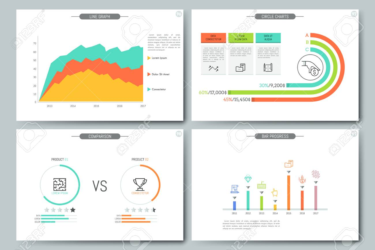 minimal infographic brochure template pages with comparison