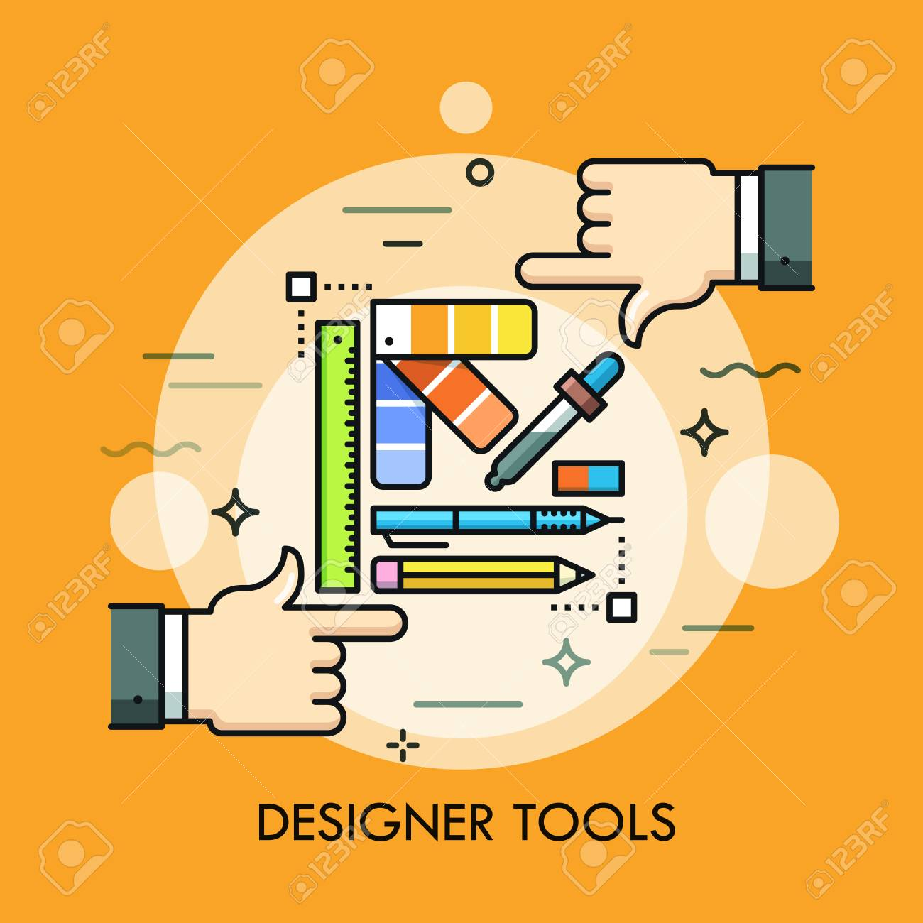 Color Palette Pen Pencil Ruler Eraser And Two Human Hands Royalty Free Cliparts Vectors And Stock Illustration Image 95281415
