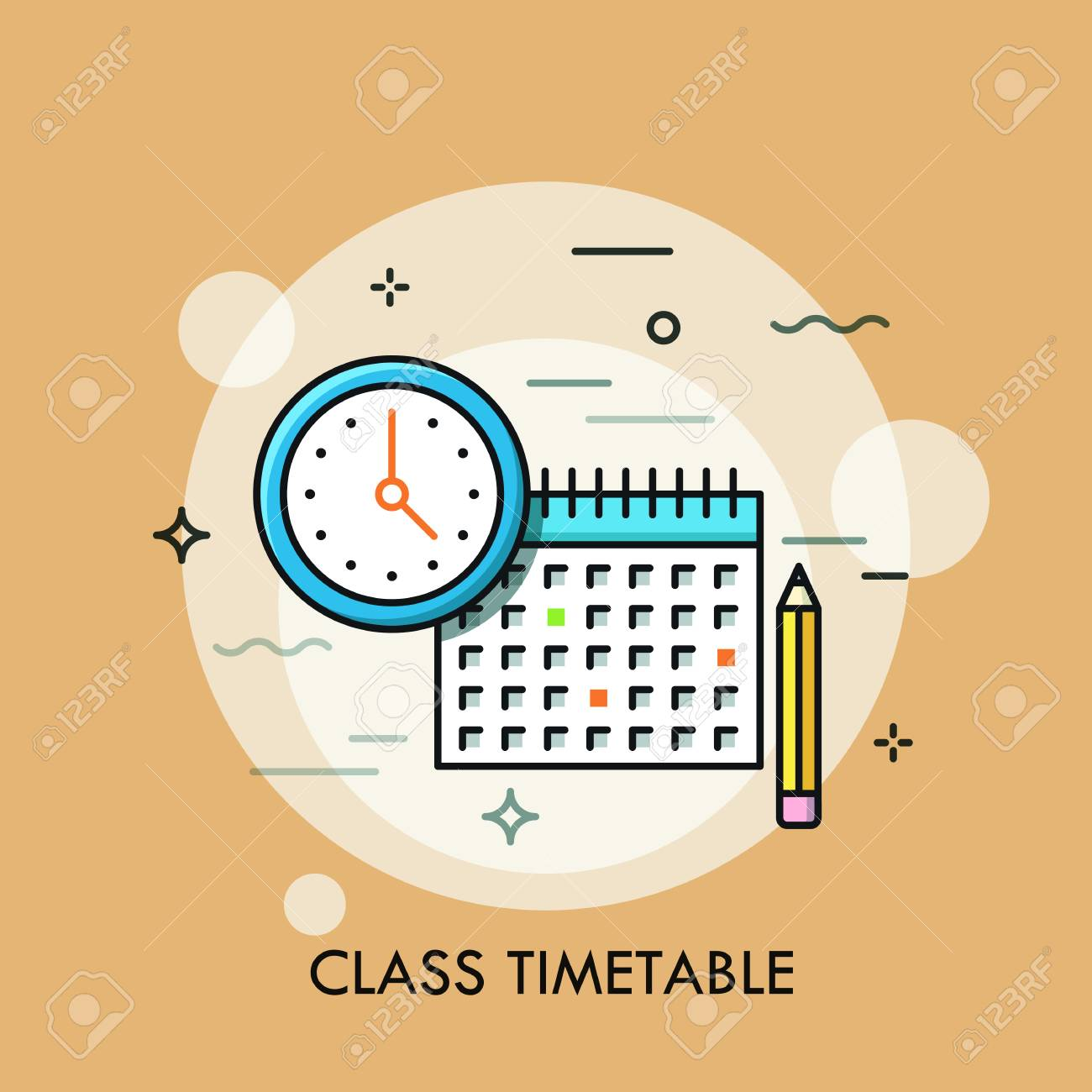 Clock Calendar And Pencil Concept Of Class Timetable Or Schedule