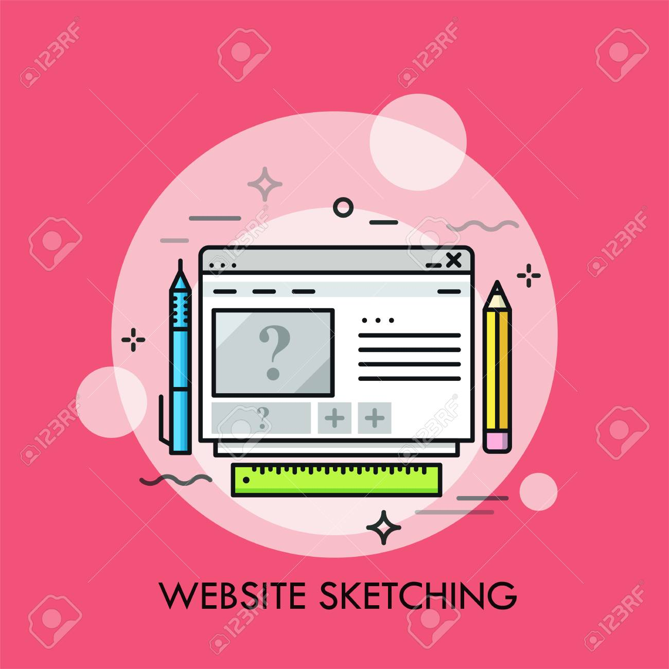 Browser Window Pen Pencil And Ruler Concept Of Web Design Royalty Free Cliparts Vectors And Stock Illustration Image 95350590