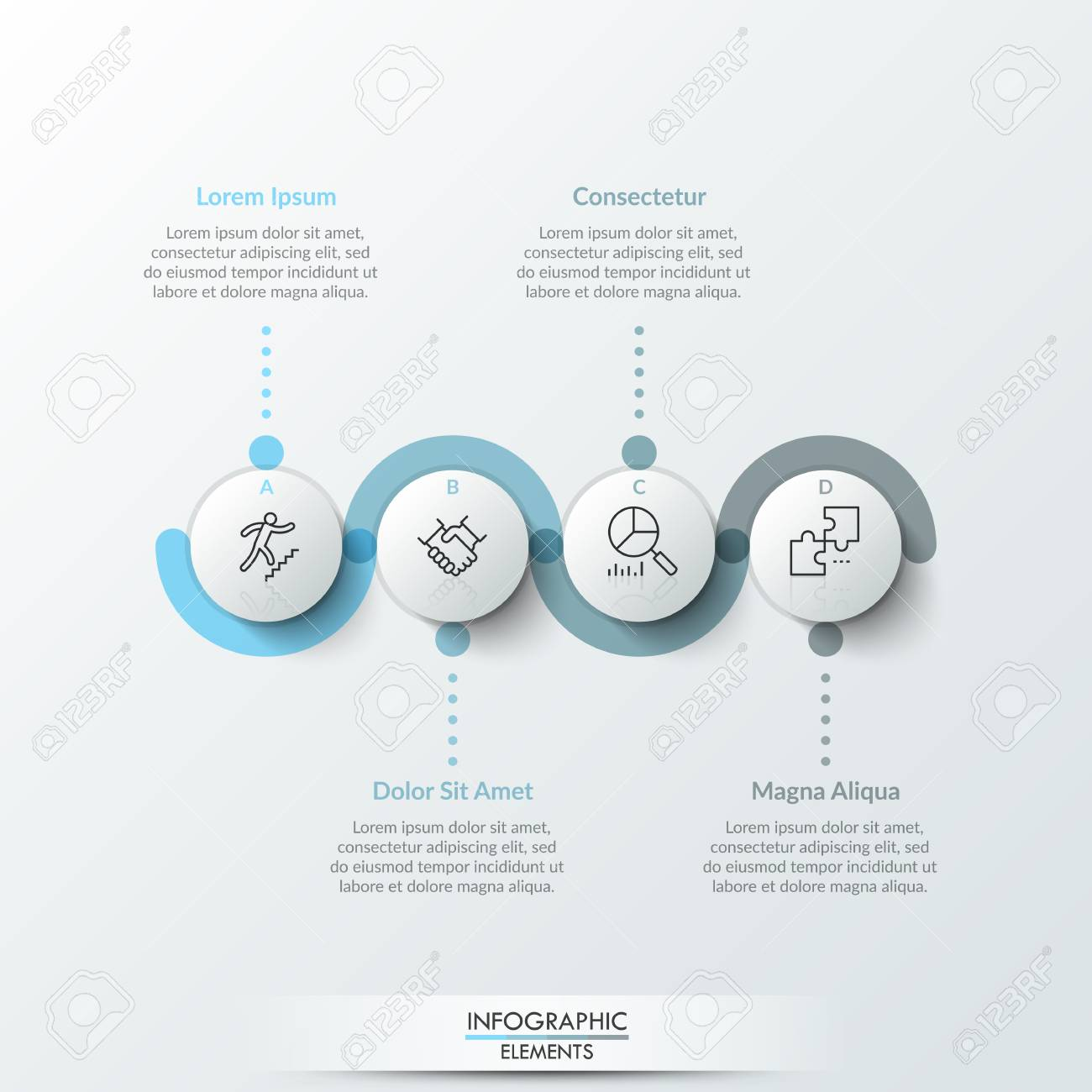 Four round paper white elements with linear symbols inside, translucent line curving around it and text boxes. Concept of 4 steps to business growth. Infographic design template. Vector illustration. - 102308643