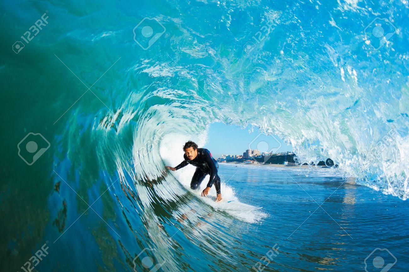 Surfer On Blue Ocean Wave - 11945986