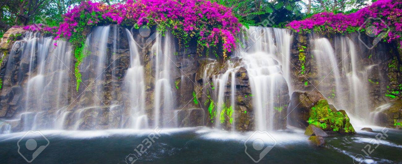 Beautiful Lush Waterfall Stock Photo - 11928396