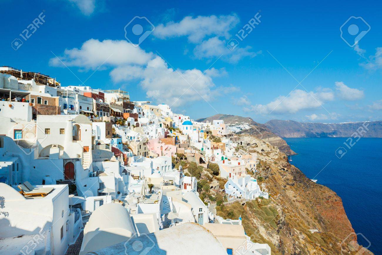Santorini Island, Greece, Beautiful View of Blue Ocean and Traditional Dome Church Architecture Stock Photo - 14382285