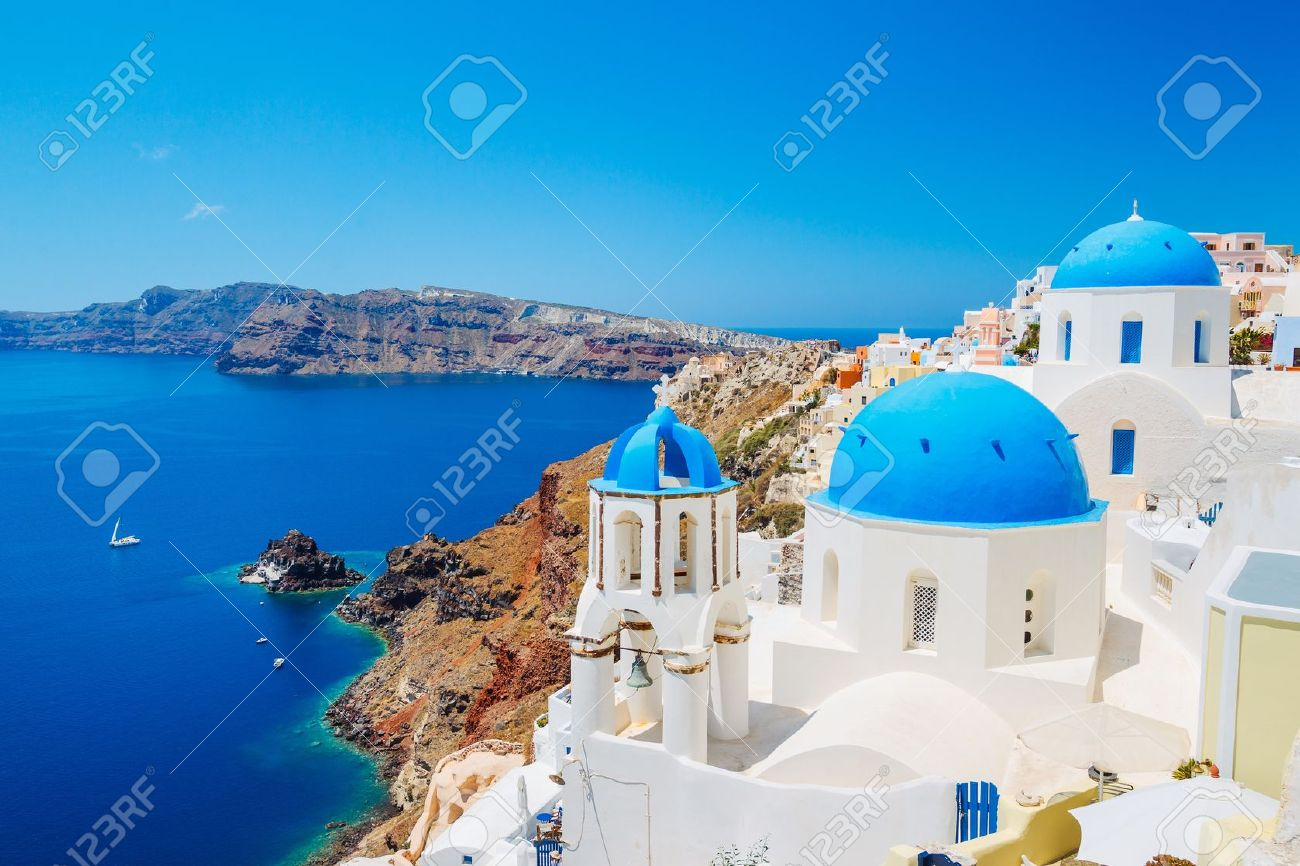 Santorini Island, Greece, Beautiful View of Blue Ocean and Traditional Dome Church Architecture - 14378547