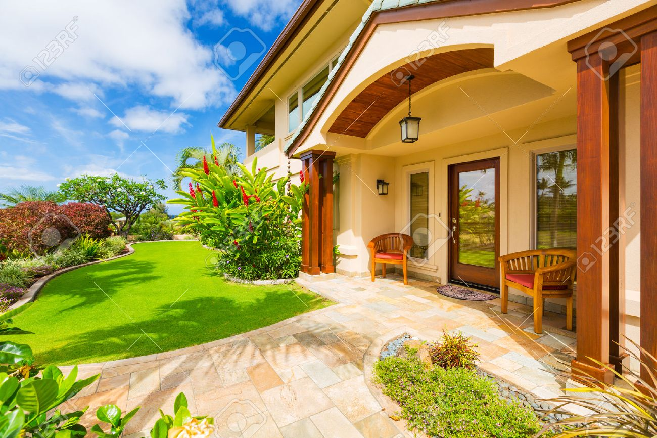 Beautiful Home Exterior Luxury Home Sunny Blue Sky Stock Photo