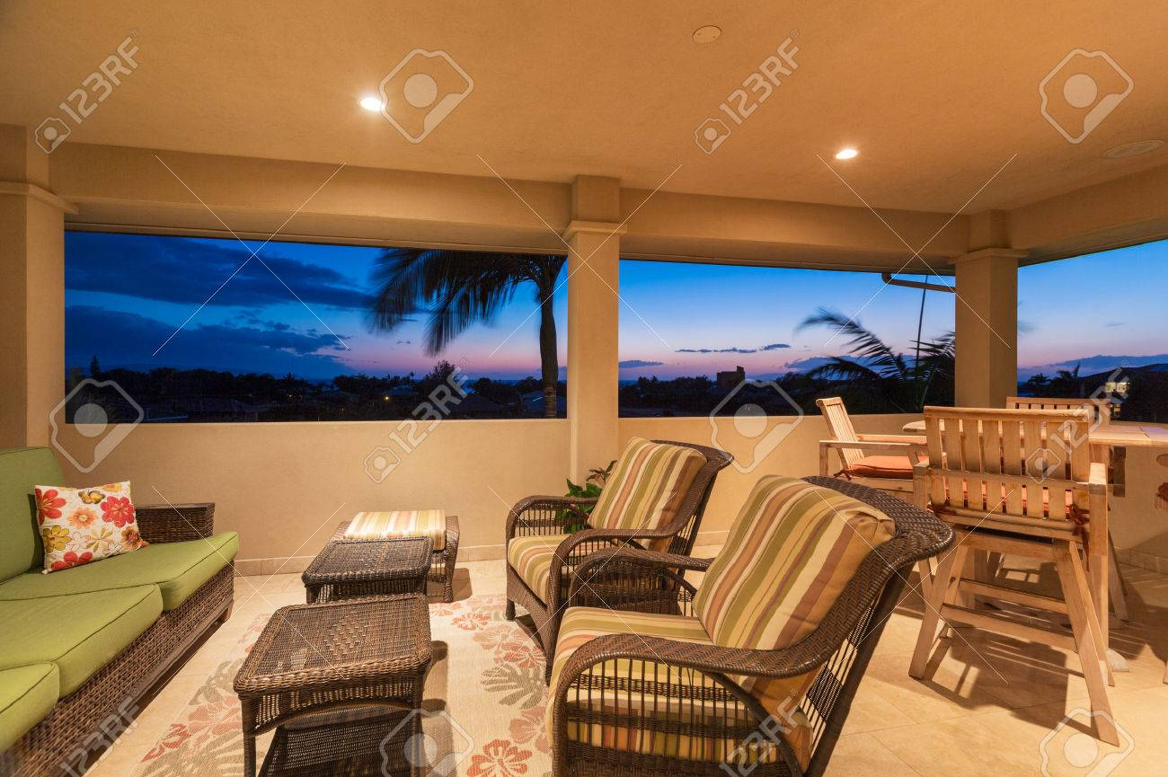 Outdoor Deck And Patio Furniture At Sunset, Luxury Home Interior Design  Stock Photo   28154115